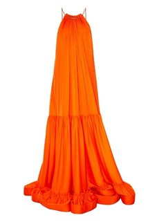 Stella McCartney Halterneck ruched-panels satin maxi dress