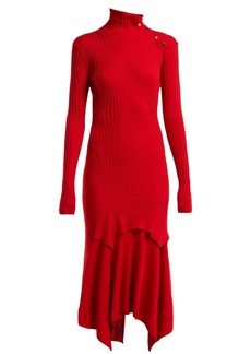 Stella McCartney Handkerchief-hem ribbed-knit dress