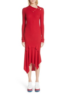 Stella McCartney Handkerchief Hem Ribbed Wool & Silk Dress