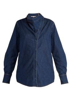 Stella McCartney Handkerchief-neck denim shirt