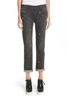 Stella McCartney Heart Embroidered Skinny Boyfriend Jeans