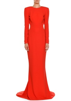 Stella McCartney High-Neck Long-Sleeve Open-Back Evening Gown