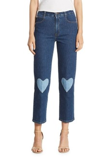 Stella McCartney High-Rise Cropped Straight Heart-Detail Jeans
