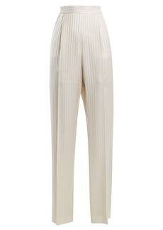 Stella McCartney High-rise striped-jacquard silk-satin trousers