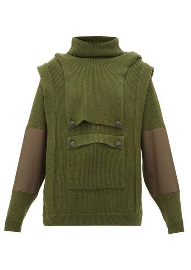 Stella McCartney Hooded cargo-pocket wool sweater