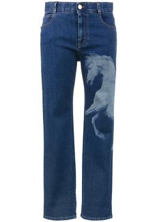 Stella McCartney Horse print mid rise boyfriend jeans - Blue