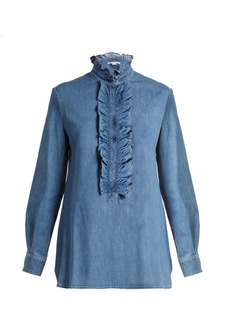 Stella McCartney Ina ruffled-trimmed denim shirt