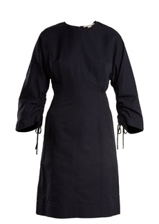 Stella McCartney Indigo round neck ruched-sleeve cocoon dress