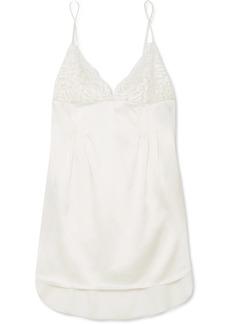 Stella McCartney Isabel Floating corded lace-paneled stretch-silk satin chemise