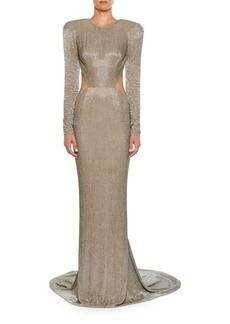 Stella McCartney Jewel-Neck Long-Sleeve Allover Beaded Evening Gown w/ Open Back