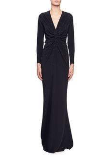 Stella McCartney Joy Long-Sleeve V-Neck Gown