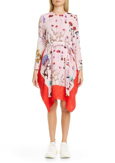 Stella McCartney Kalyn Floral Handkerchief Hem Long Sleeve Silk Dress