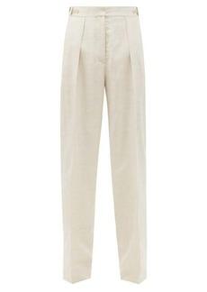 Stella McCartney Katlyn front-pleated slubbed-blend trousers
