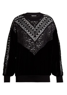 Stella McCartney Lace-trimmed logo-print sweatshirt