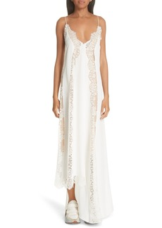 Stella McCartney Lace Panel Asymmetrical Silk Dress