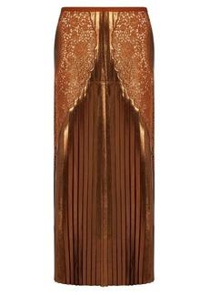 Stella McCartney Lace-panel pleated lamé midi skirt