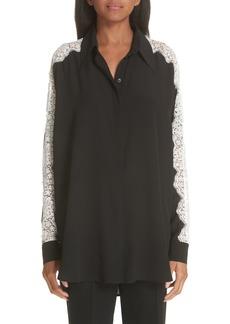 Stella McCartney Lace Sleeve Silk Blouse