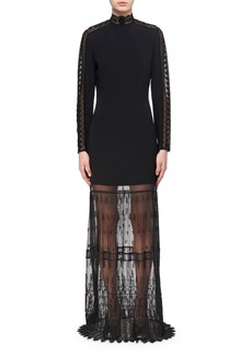 Stella McCartney Lace-Trim Cady Mock-Neck Gown