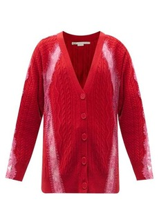 Stella McCartney Lace-trimmed cable-knit wool cardigan
