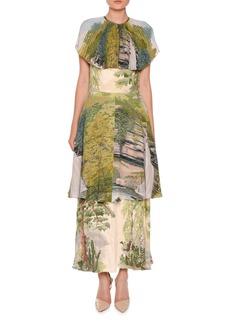 Stella McCartney Landscape-Print Tiered Capelet Dress
