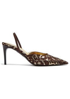 Stella McCartney Leopard-print brocade slingback pumps