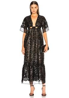 Stella McCartney Leopard Print Burnout Plunging Gown