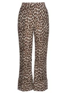 Stella McCartney Leopard-print wool-blend cropped trousers