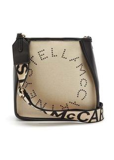 Stella McCartney Logo-embroidered canvas shoulder bag