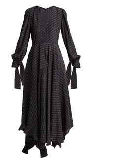 Stella McCartney Logo-printed asymmetric silk midi dress