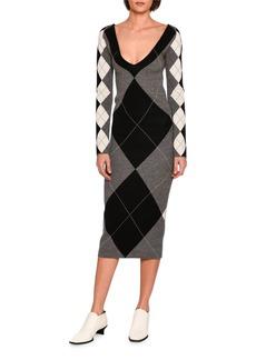 Stella McCartney Long-Sleeve Argyle Knit Sweaterdress