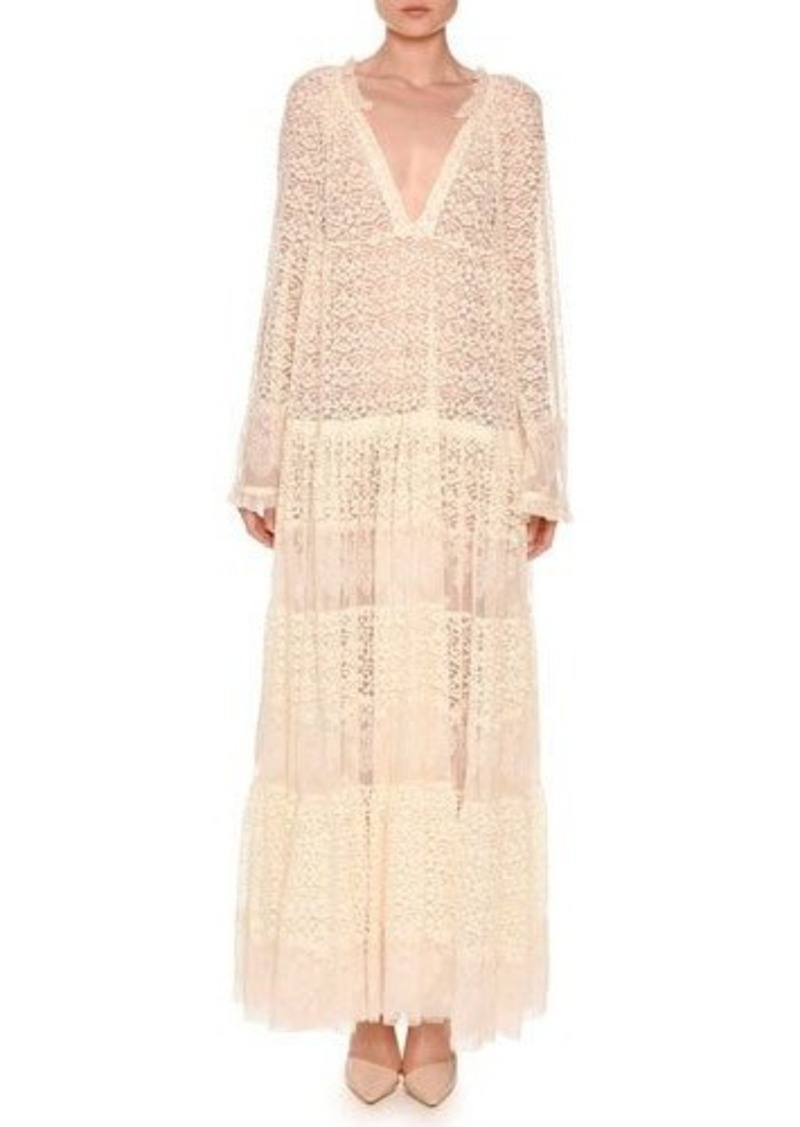 Stella Mccartney Long Sleeve Boho Lace Maxi Dress