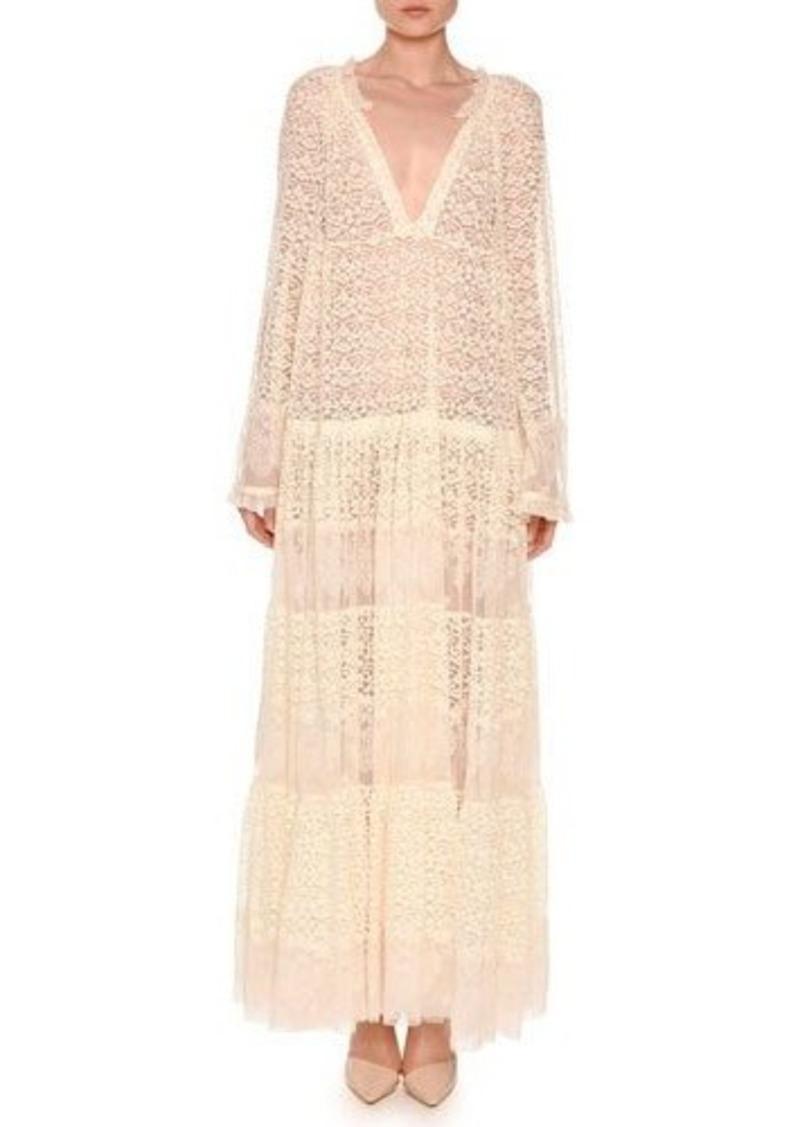 a51a54e639b60 Stella McCartney Stella McCartney Long-Sleeve Boho Lace Maxi Dress ...