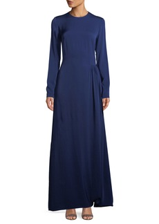 Stella McCartney Long-Sleeve Side-Pleat Jersey Gown