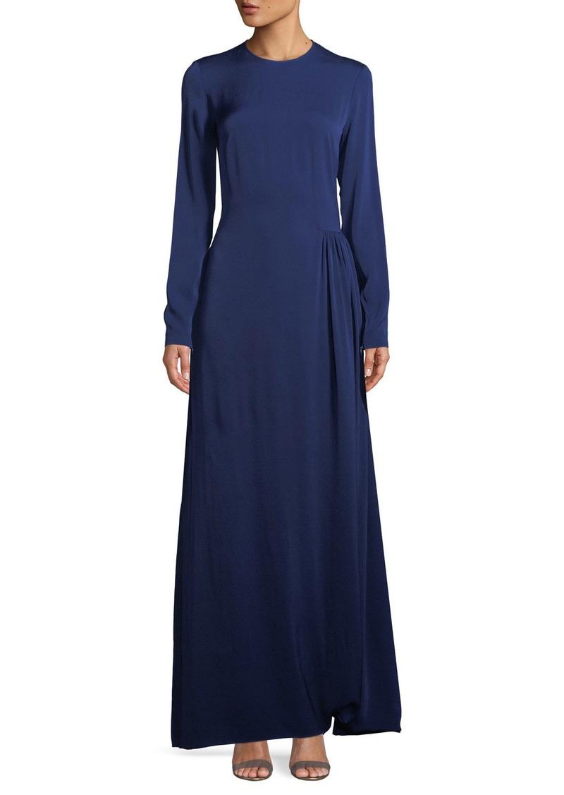 a1b99b576c Stella McCartney Long-Sleeve Side-Pleat Jersey Gown Now $480.90