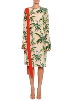 Stella McCartney Long-Sleeve Tropical-Print Dress