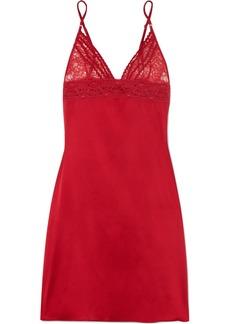 Stella McCartney Lottie Lusting Leavers lace and stretch-silk satin chemise