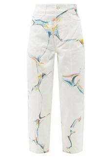 Stella McCartney Marble-print tapered-leg jeans