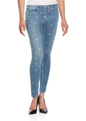 Stella McCartney Metallic Polka-Dot Skinny Ankle Grazer Jeans