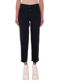 Stella McCartney Mid-Rise Straight-Leg Washed Denim Crop Pants