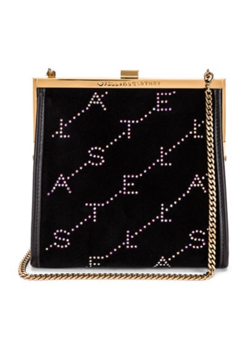 Stella McCartney Mini Frame Monogram Velvet Crystal Bag
