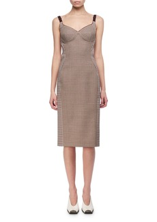 Stella McCartney Mixed-Check Wool Bustier Pencil Dress