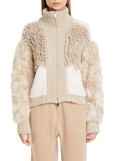 Stella McCartney Mixed Faux Fur Alpaca Blend Jacket