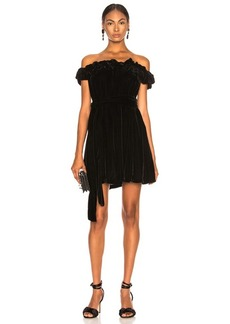 Stella McCartney Miya Velvet Off Shoulder Dress