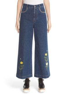 Stella McCartney Nashville Studded & Embroidered Flare Crop Jeans (Blu Notte)