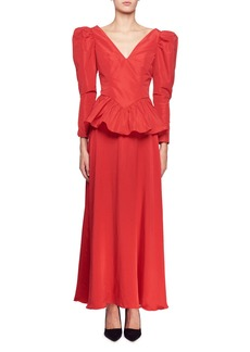 Nathaly Long-Sleeve V-Neck Peplum-Waist Evening Gown