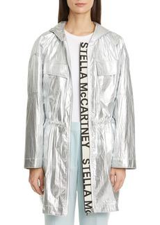 Stella McCartney Noelia Logo Tape Metallic Hooded Parka