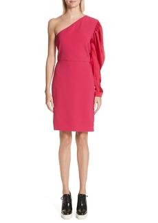 Stella McCartney One-Shoulder Puff Sleeve Cady Dress