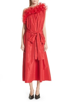 Stella McCartney One-Shoulder Ruffle Taffeta Dress