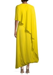 Stella McCartney One Side Long Cape Belted Jersey Evening Gown