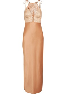 Stella McCartney Ophelia Whistling lace-paneled stretch-silk satin chemise